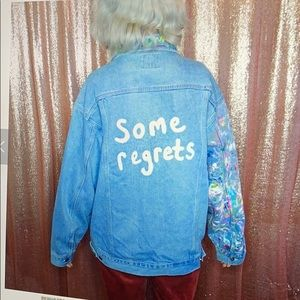 """Some Regrets"" painted jacket by Allison Harvard"